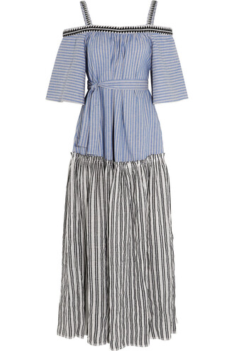 dress maxi dress maxi embroidered cotton blue