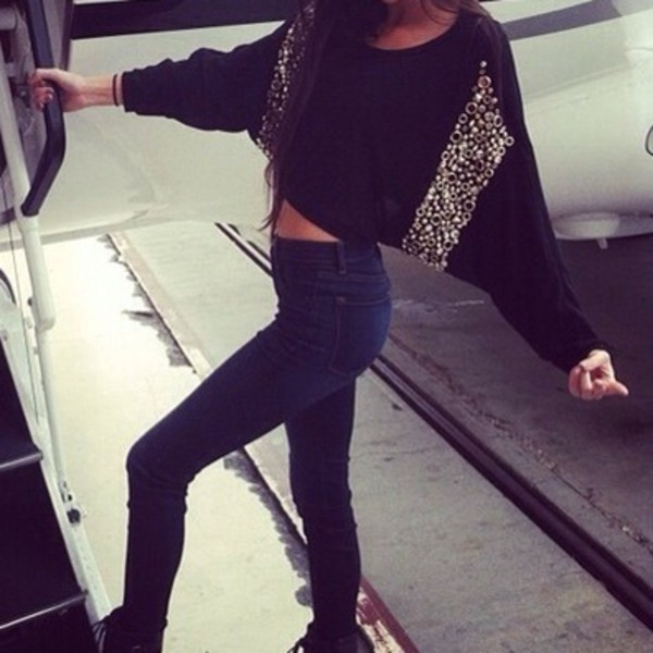 sweater where to get it? :) glitter pailettes black black sweater jeans