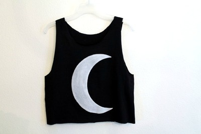 Black crescent moon tank crop shirt · wild black sheep · online store powered by storenvy