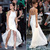 Aliexpress.com : Buy Emma Watson Halter Ruffles Open Back High Slit Ivory A Line Chiffon Celebrity Dress For Party 2014 from Reliable dress egg suppliers on SFBridal