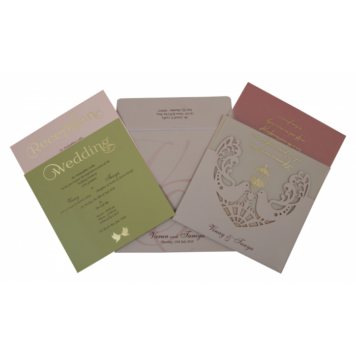 Pink Matte Laser Cut Wedding Invitation : CD-1800 | IndianWeddingCards