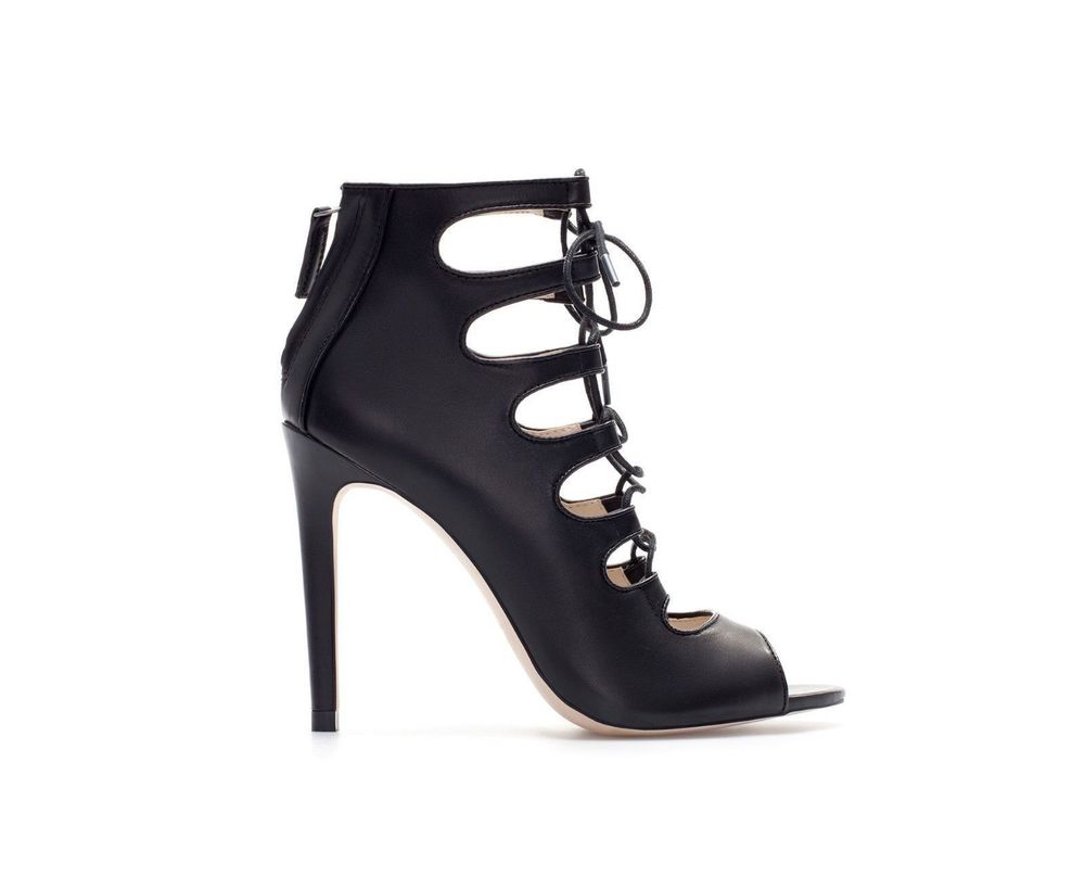 ZARA BLACK LEATHER ANKLE BOOTS LACE UP SANDALS SOLD OUT BLOGGERS SIZE UK 3