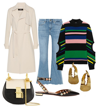 fashion vibe blogger sweater jeans coat jewels bag shoes