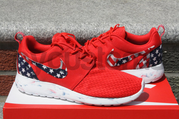 finest selection 196a8 414ef RESTOCKED SIZES! - Nike Roshe Run Red Marble American Flag Pride Print  Custom