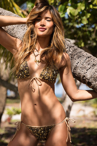 swimwear agua bendita bikini bottoms bikini bikini top cheeky gold latin triangle bikiniluxe-feb top latin fit beaded bikiniluxe