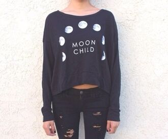 top black moon half tops t-shirt jeans sweater cool girl style black moon child top blouse moon shirt white grey