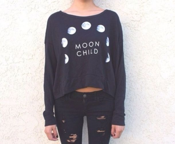 top black moon half tops t-shirt jeans moon sweater cool girl style black moon child top blouse moon shirt white grey