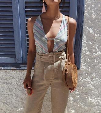 bag round bag summer summer outfits summer accessories summer bag posse high waisted vintage