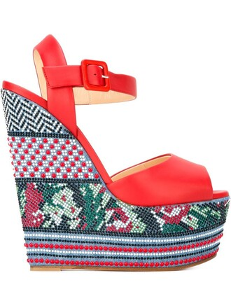 women beaded sandals wedge sandals leather red shoes