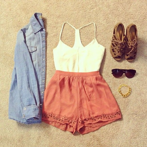 shorts shoes sunglasses jewels blouse clothes shirt cute outfits summer outfits summer top cute shorts cognac shoes jacket coral shorts t-shirt top