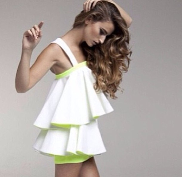 dress white and green with frills