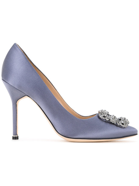 Manolo Blahnik women pumps leather silk satin grey shoes