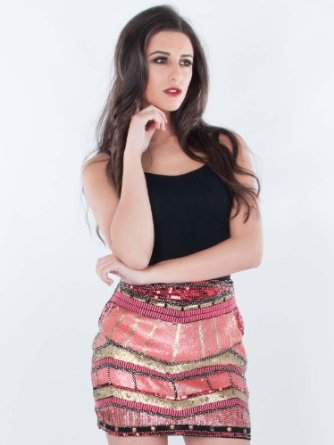 Womens ladies beaded sequin mini skirt sizes 6
