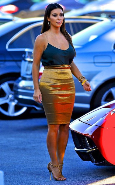 kim kardashian skirt blouse shoes