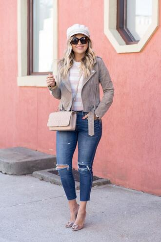 suburban faux-pas blogger jacket hat t-shirt jeans jewels shoes bag fisherman cap crossbody bag chanel bag suede jacket pumps spring outfits