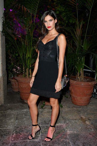 dress model black dress mini dress sandals sara sampaio milan fashion week 2017 little black dress