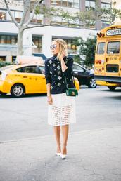 damsel in dior,blogger,bag,eyelet skirt,eyelet detail,top,black top,printed top,midi skirt,white skirt