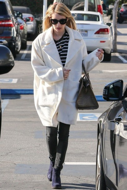 emma roberts ankle boots stripes boyfriend coat coat shoes