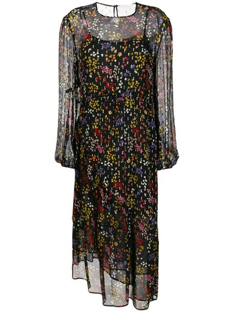 dress midi dress sheer metallic women midi floral black silk