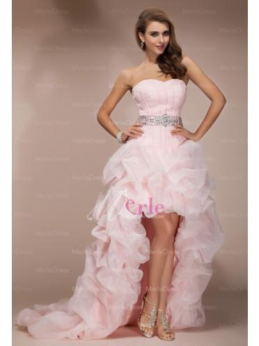 Amazing A-Line/Princess Sweetheart Sleeveless Asymmetrical Beading Organza Dresses