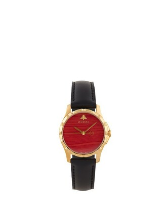 leather watch watch leather black red jewels