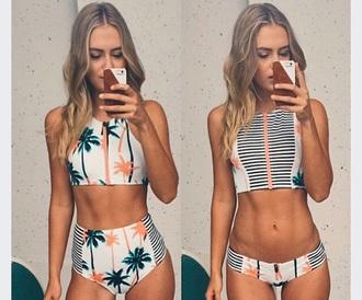 swimwear orange swimwear green swimwear palm tree print white swimwear high waisted bikini crop tops