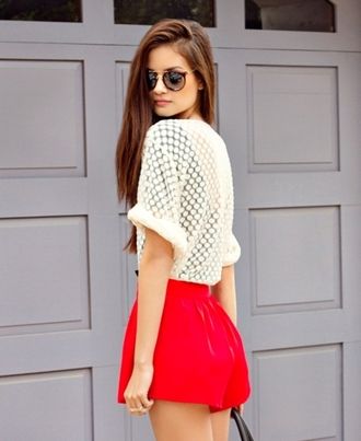 blouse clothes shorts shirt creme colored summer outfits fashion short dresses 2014 fashion top topshop top up white lace up t-shirt cute outfits sunglasses tumblr tumblr girl place
