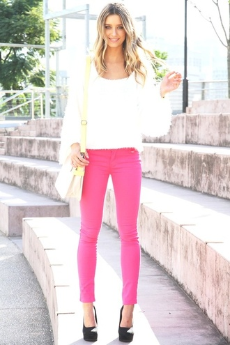 jeans pink cute