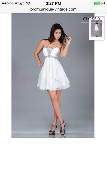 dress short white prom dress