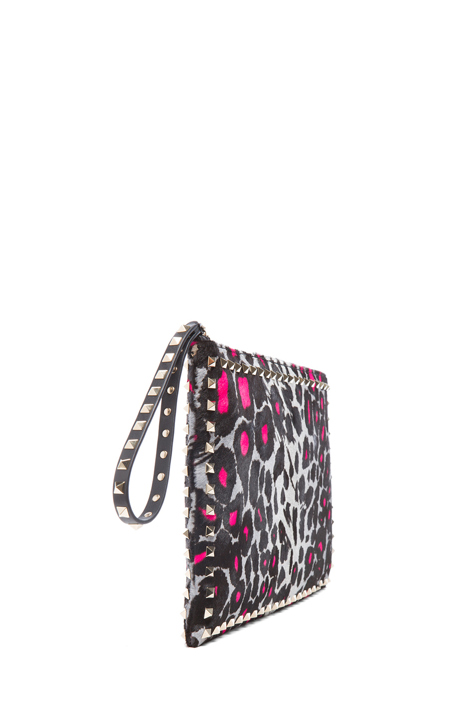 Valentino|Small Cheetah Rockstud Clutch in Fluo Pink
