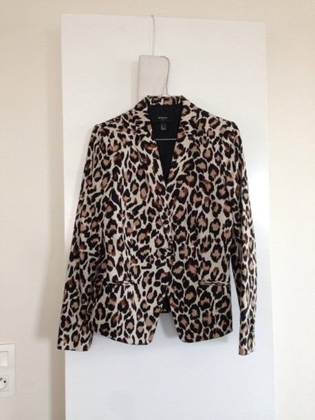 jacket mango leopard print blazer