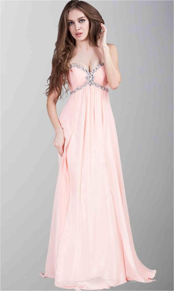 pink prom dress sweetheart formal dresss empire waist dress fashion dress