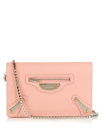 metal bag shoulder bag leather light pink light pink