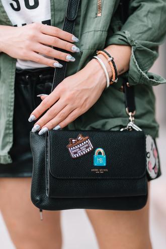bag nails tumblr black bag patch bracelets accessories accessory nail polish nail art jewels