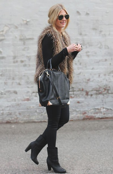 shoes black booties bag coat