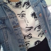 blouse,shirt,t-shirt,eyes,anime,hipster,denim,graphic tee,white t-shirt,grunge t-shirt,grunge,rock,eyes tshirt,black,blak eyes,manga,anime eyes,eye