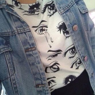 blouse shirt t-shirt eyes anime hipster denim graphic tee white t-shirt grunge t-shirt grunge rock eyes tshirt black blak eyes manga anime eyes eye