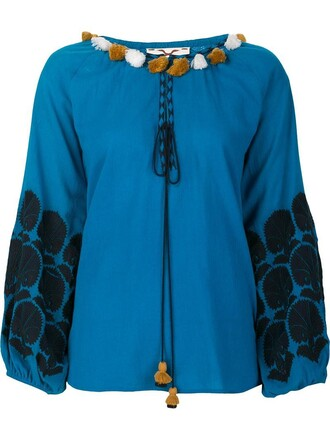 blouse women cotton blue top