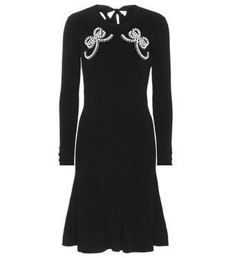 dress embellished knit black