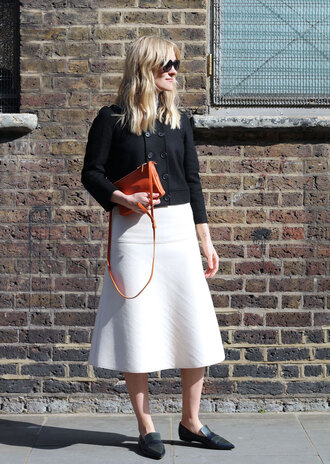 blame it on fashion blogger white skirt loafers black jacket