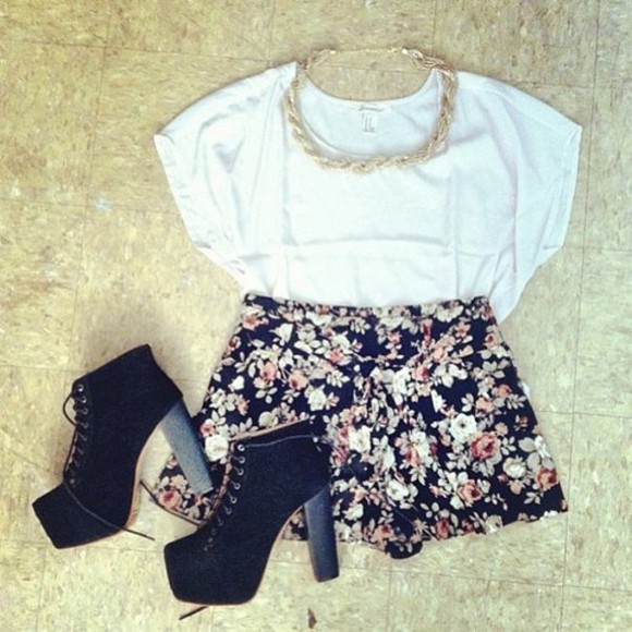 shorts shirt shoes floral shorts boots white top white circle top braided braided necklace heeled boots