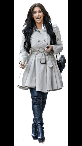 coat grey kim kardashian chanel bag trench coat louboutin kardashians black boots grey coat