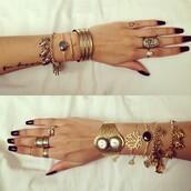 jewels,lotus flower,gold bracelet,black,hipster,goth hipster,grunge,soft grunge,girly grunge,boho,bohemian,bronze,bronze ring,bracelets,set bracelets,gold jewelry,black jewels