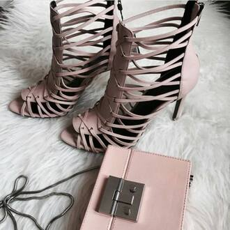 shoes zara shoes zara sandals sandal heels strappy sandals blush pink sandals bag pink bag clutch