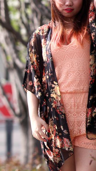 cardigan floral summer chiffron silk sweet romper