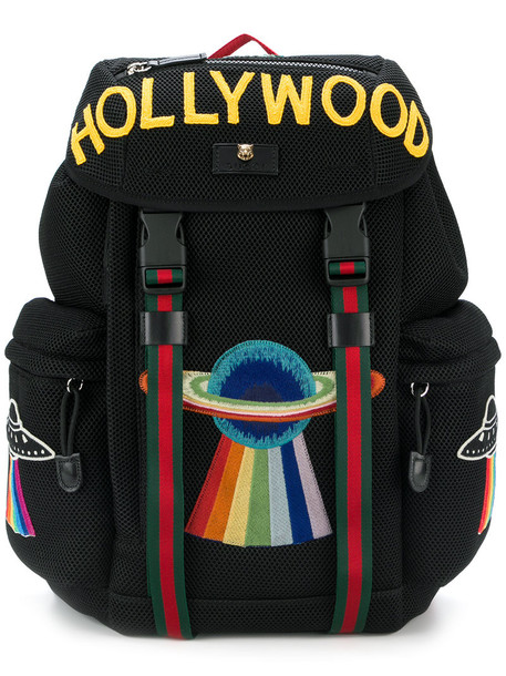 gucci embroidered women hollywood backpack black bag