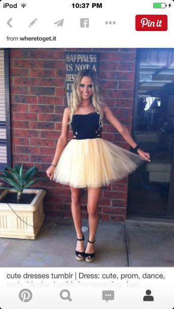 dress champagne dress black dress black heels poofy dress short dress super cute