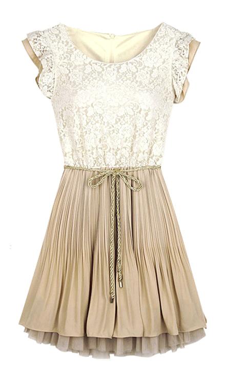 Beige Lace Frill Sleeve Belt Chiffon Pleated Dress - Sheinside.com