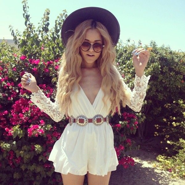 romper boho hippie hat\ belt hat black