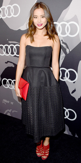 jamie chung red heels bustier dress black dress